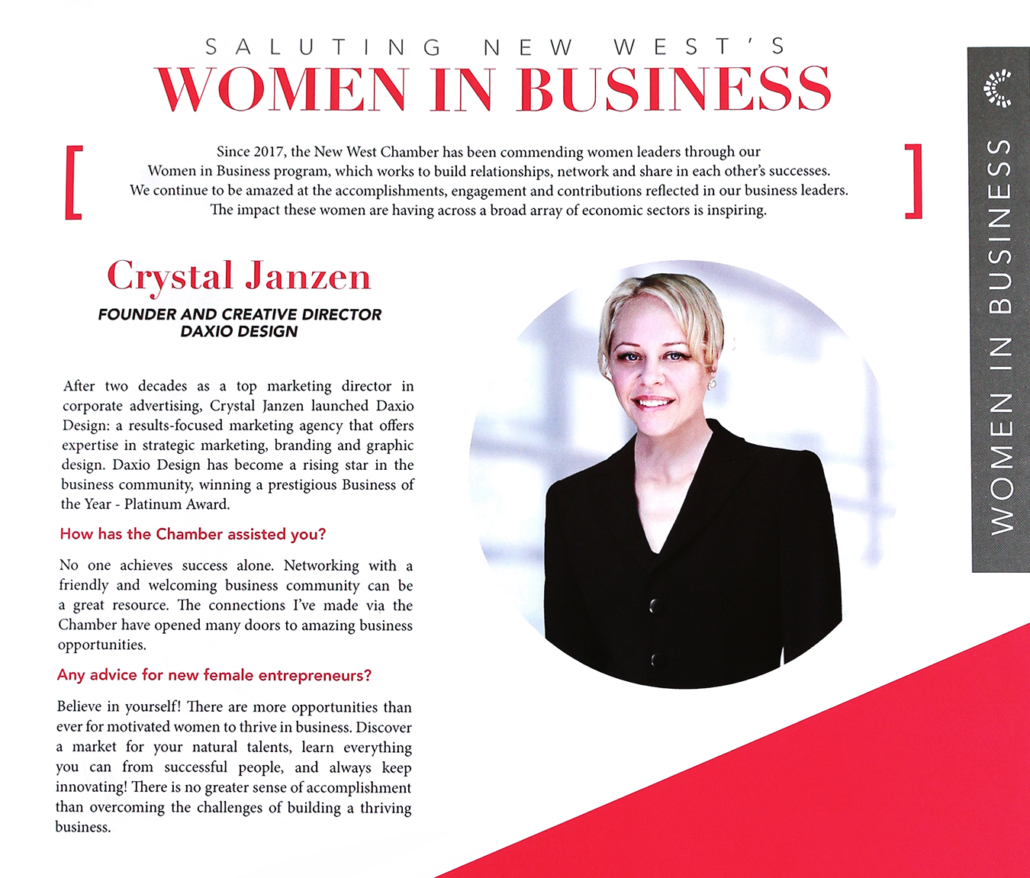 """Crystal Janzen, Creative Director of #DaxioDesign, was recently interviewed by the Magazine """"Doing Business in New Westminster""""."""